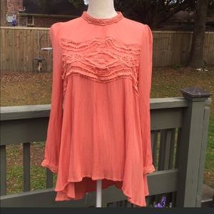 By Together Boho Blouse w Lace detail keyhole back